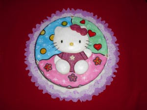 Postal: Bonita tarta con colores y brillantina de Hello Kitty