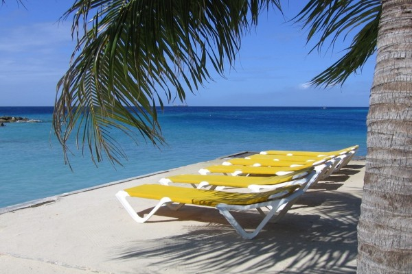 Tumbonas frente al mar en Curacao