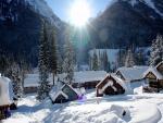 Pueblo cubierto de nieve