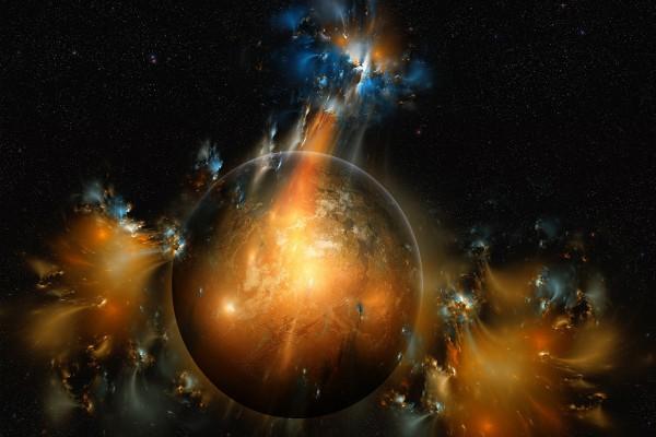 Explosiones en el espacio junto a un planeta