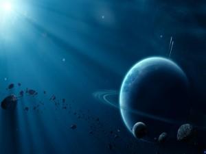 Postal: Luna y meteoritos junto a un gran planeta