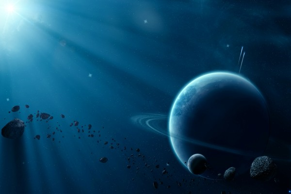 Luna y meteoritos junto a un gran planeta