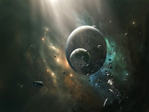 Postal: Planetas y meteoritos en el espacio