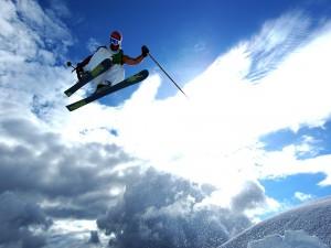 Postal: Un espectacular salto de esquí