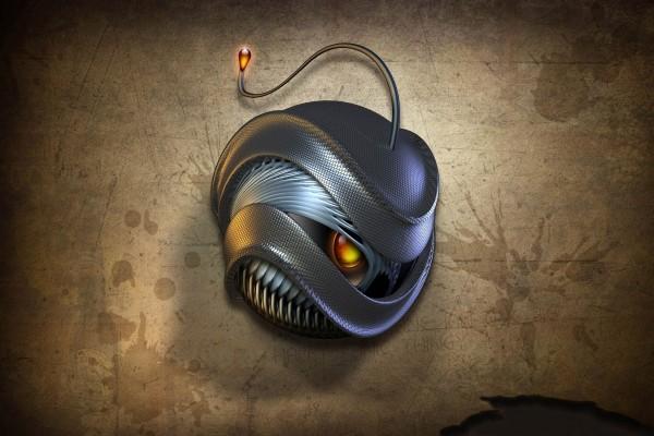 Un ratón y una serpiente en formas abstractas 3D