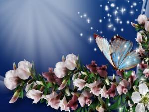 Postal: Rama con flores y una brillante mariposa
