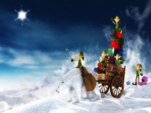 Duendes y oso polar transportando regalos por Navidad