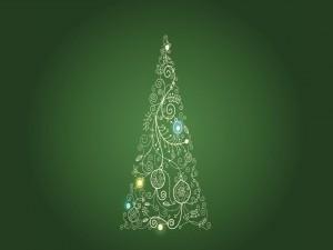 Postal: Árbol navideño en un fondo verde