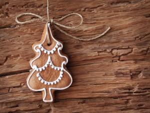 Postal: Galleta con forma de árbol de Navidad