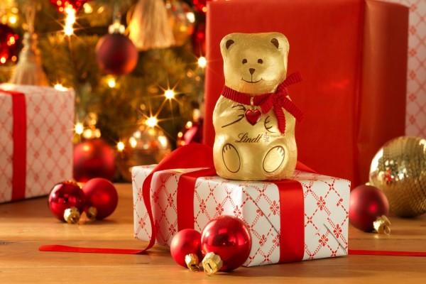 Osito de chocolate Lindt dulce regalo por Navidad