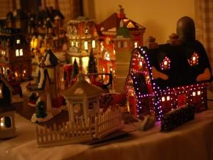 Casitas con luces de Navidad