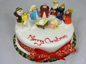Postal: Tarta representando el nacimiento de Jesús