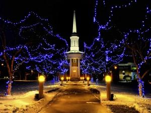 Postal: Luces de Navidad junto al camino