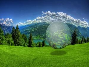 Postal: Gran bola transparente en la naturaleza