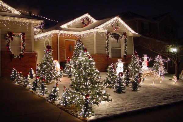 Luces, árboles y muñecos de nieve en un jardín por Navidad