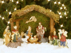 Postal: Los Reyes Magos en el Portal de Belén