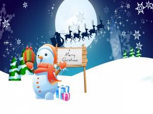 Muñeco de nieve te felicita por Navidad