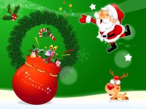Un jovial Santa Claus deseando ¡Feliz Navidad!