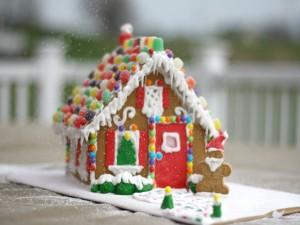 Postal: Una bonita casa de jengibre para Navidad