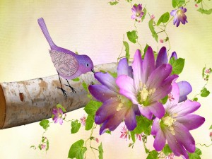 Postal: Un pajarito junto a unas bellas flores