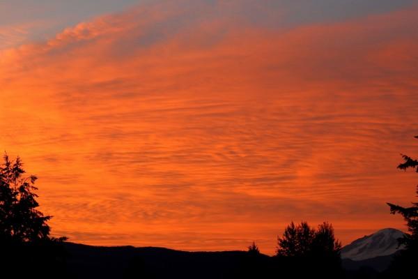 Bonito cielo anaranjado al amanecer