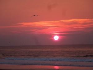 El sol del atardecer visto desde la playa