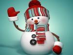 Un muñeco de nieve saludando