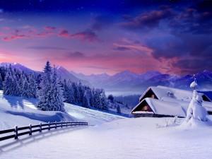 Postal: Atardecer nevado