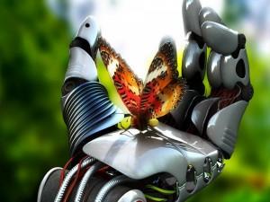 Postal: Mariposa en la mano de un robot