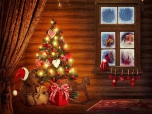 Postal: Llegó Papá Noel a la casa con adornos navideños