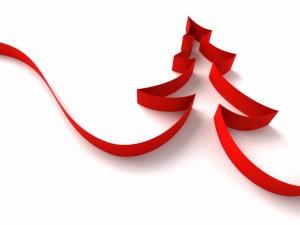 Cinta roja formando un árbol de Navidad