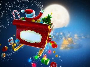 Papá Noel repartiendo regalos navideños