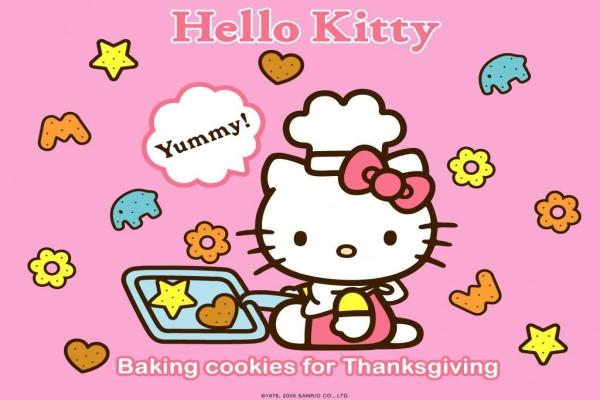Hello Kitty horneando galletas
