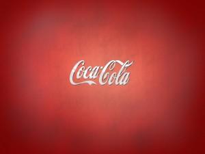 Postal: Logo de Coca-Cola en fondo rojo