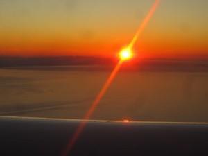 Postal: Atardecer visto desde un avión