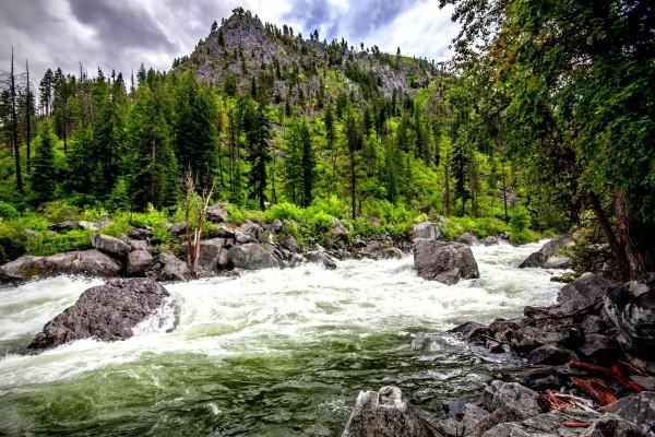 Corriente de agua entre las rocas