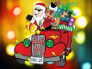 Santa Claus en un auto procedente del Polo Norte