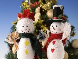 Postal: Parejita de muñecos de nieve