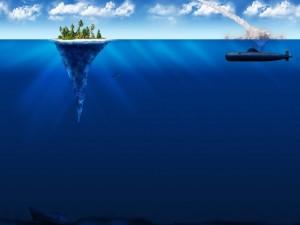 Postal: Submarino bombardeando una pequeña isla