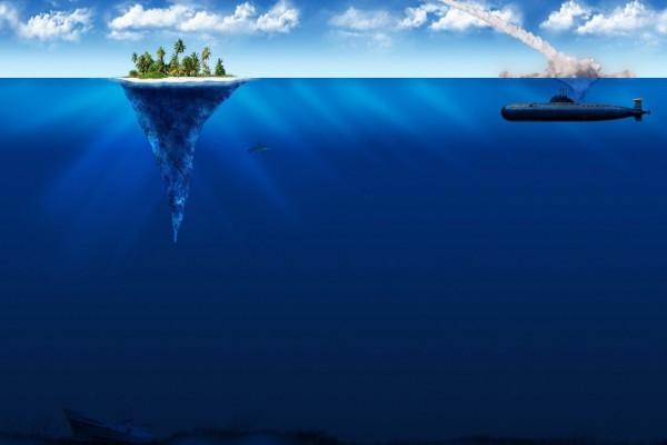 Submarino bombardeando una pequeña isla