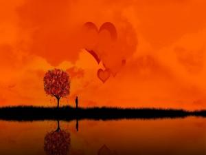 Postal: Observando la nubes con forma de corazón