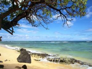 Postal: Mar tranquilo en la playa