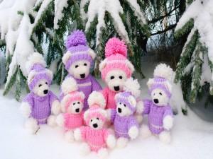Osos de peluche en la nieve