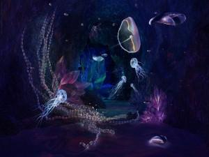 Postal: Medusas y otros seres marinos bajo el mar