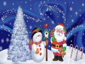 Un muñeco de nieve y Papá Noel esperando la Navidad