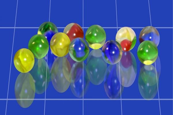 Canicas de colores en 3D