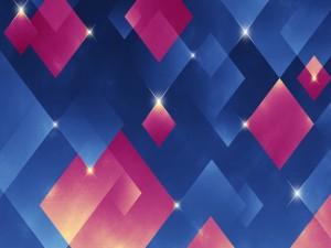 Postal: Cubos de color rosa y azul