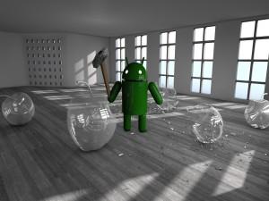 Android rompiendo manzanas de cristal