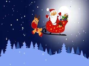 Papá Noel en su trineo con Rudolph