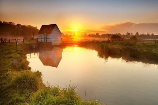 Puesta de sol anaranjada vista desde el estanque